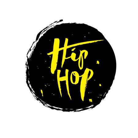 Hip Hop, letras de mano de tinta. Caligrafía de pincel moderno. Ilustración de vector aislado texto amarillo sobre fondo negro. Diseño de letras para impresión, carteles, postales, pancartas, invitaciones, adhesivos