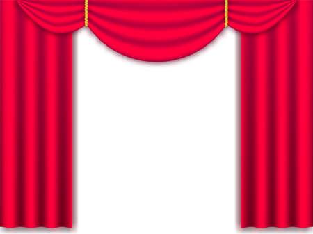 Illustration vectorielle Draperie de rideaux de soie réaliste rouge isolée. Vecteurs