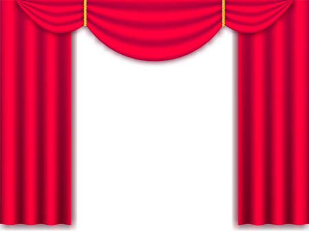 Vector illustration Red realistic silk curtains drapery isolated.