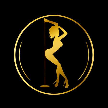 Gouden logo voor dansstudio, paaldans, club