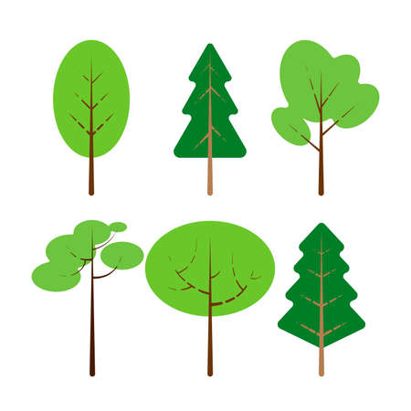 Set of illustration of trees. Isolated flat cartoon style vector illustration on white background. Cute element for design of banner, cards, flyer, icon, web. Illustration
