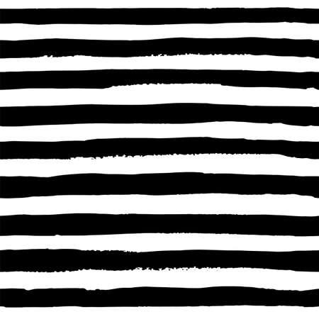 Vector il modello senza cuciture delle strisce nere dell'acquerello su fondo bianco. La linea isolata orizzontale nella carta. È un disegno a mano. stampa ad acquerello per i vestiti. Elemento di design luminoso