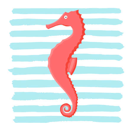 Coral seahorse animal flat character with abstract cyan spot isolated on white background. Cartoon hippocampus for design, logo, background, card, print, sticker