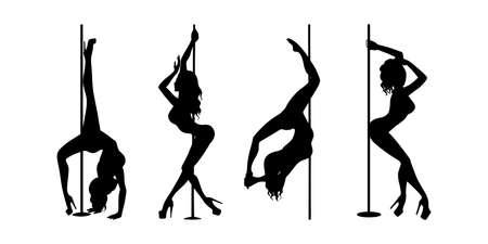 Satz Silhouette Pole Dance exotisch schwarz auf weiß