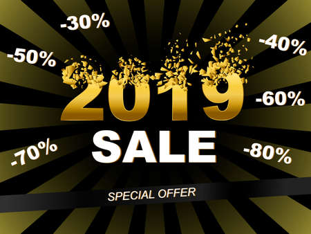 2019 sale banner template. explosion 2019 with discount stickers Vector illustration EPS10 for flyers, posters, brochure or voucher discount. Template for the Black Friday, New Year, Christmas sale,