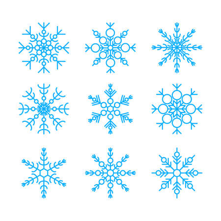 Vector illustration of blue snowflakes collection isolated on white background. Flat snow icons, silhouette. Cute element for christmas, new year, winter design of banner, cards, flyer.