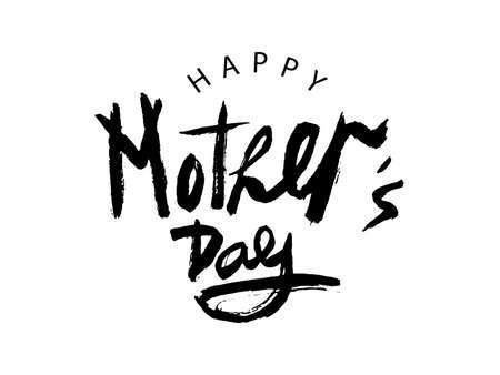 Iscrizione scritta a mano di vettore Happy Mother's Day su priorità bassa bianca. Iscrizione ingenua moderna nera per design, sfondo, carta, stampa, adesivo, banner. Cartolina d'auguri di calligrafia felice festa della mamma. Vettoriali