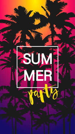 Flyer Summer Party with black palm trees on color background. Flat designer element for banner, flyer, story, clothes, postcard. composition with tropical suset. Vector illustration EPS10 Illustration