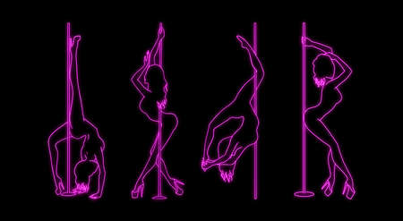 set of vector silhouette of girl and pole with neon effect. Pole dance illustration for fitness, striptease dancers, exotic dance. Illustration EPS10 for logotype, badge, icon, logo, banner, tag.