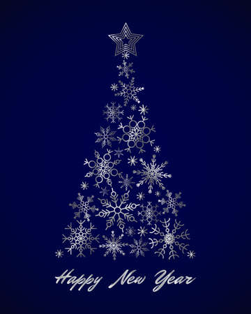 Silver snowflake Christmas tree and text Happy New Year on blue background. Holiday design, triangle snowflakes. New Yaer template for card, invitation, sale, web, post. Greeting card trendy design