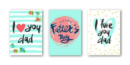 Card set with lettering I love dad, happy Fathers Day with decorative elements