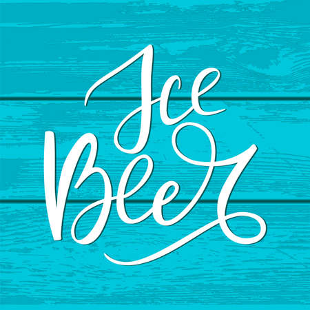 White hand drawn brush lettering Ice Beer on cyan wooden plaque