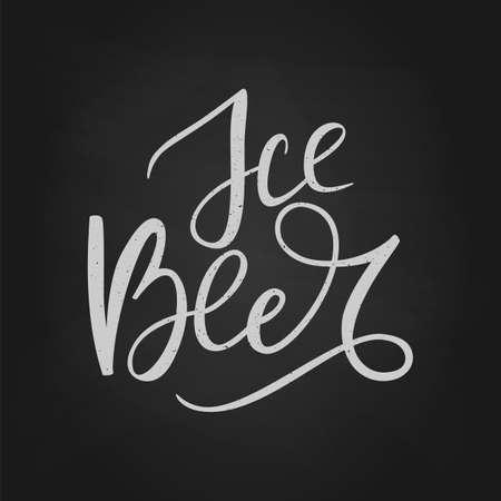 Black hand drawn brush lettering Ice Beer on chalkboard Ilustração