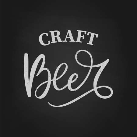 Black hand drawn brush lettering craft Beer on chalkboard
