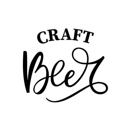 Black hand drawn brush lettering craft Beer on white background