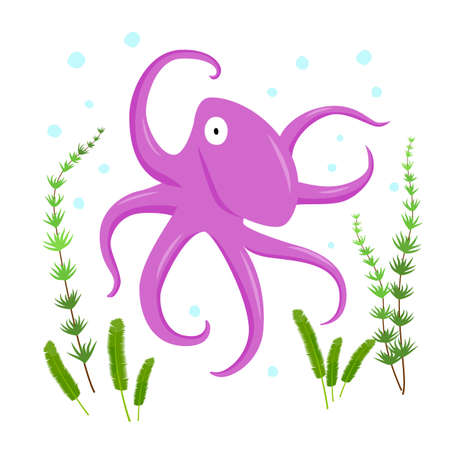 octopus flat character with algae and spots on white background. Illusztráció