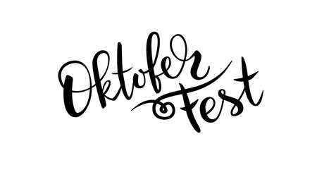 Black hand drawn brush lettering Oktoberfest on white background Ilustração