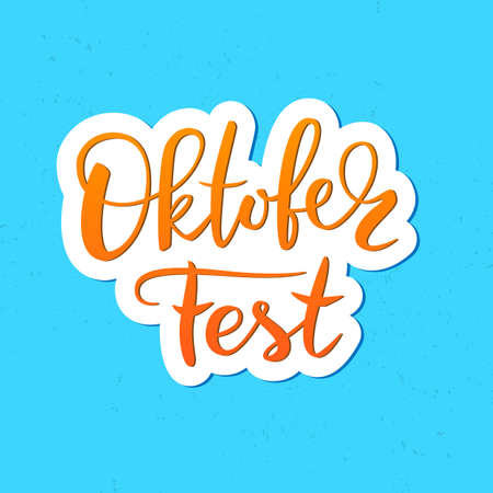 Vector illustration of Oktoberfest handwritten lettering greeting. Ilustração