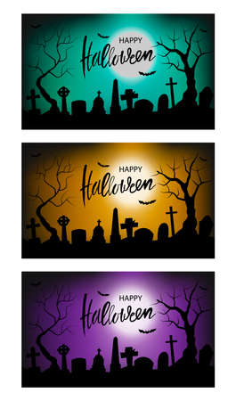 set of Halloween vector illustration with black silhouette of cemetery Ilustração