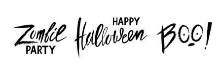 vector handwritten lettering Zombie party, Happy Halloween, Boo Ilustração