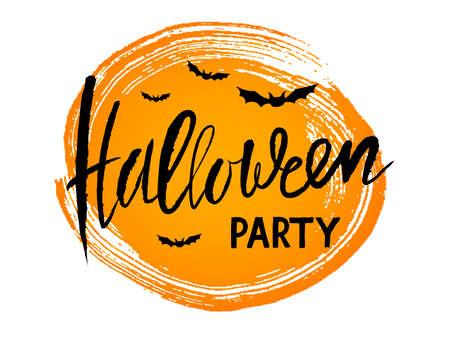 vector handwritten lettering Halloween party calligraphic card