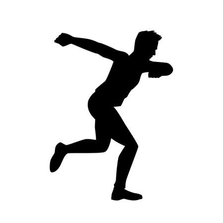 black silhouette of a dancing, running man on white background. A male street dance hip hop dancer. Vector isolated man for , sticker, logotype, icon, banner, poster. Illustration for dance studio Ilustração