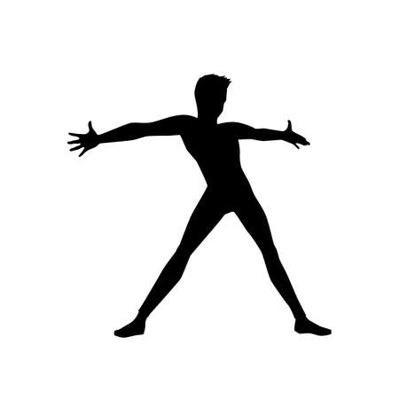 black silhouette of a dancing man on white background. A male street dance hip hop dancer. Vector isolated man for , sticker, logotype, icon, banner, poster. Illustration for dance studio