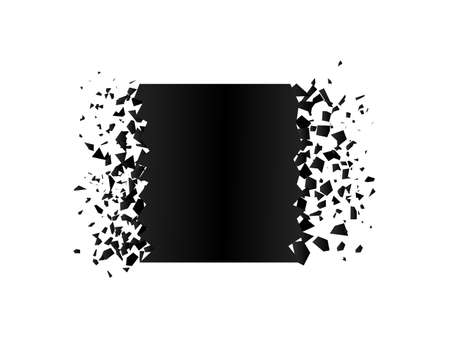 exploding square with debris. Isolated black square on white background. Concept, template for sale. 3d effect of particles. Vector illustration EPS 10