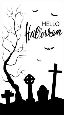 Vertical flyer with black silhouette of cemetery and trees on a white background. Nightmare landscape. Halloween vector illustration for sticker, banner, invitation, poster
