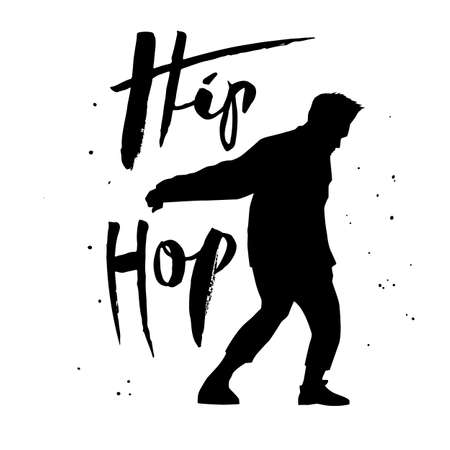 black silhouette of a dancing man and lettering on white background. A male street dance hip hop dancer. Vector isolated illustration for , sticker, logotype, icon, banner, poster for dance studio