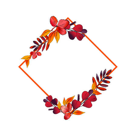 It is wreath of autum leaves. frame with bright leaves for design. clipart for background, postcard, sale, post. Red, yellow, orange, purple leaves. Bright vector illustration EPS 10. Illustration