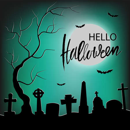 Black silhouette of cemetery and trees on green background with moon. Hand drawn lettering Happy Halloween. Nightmare landscape. Halloween vector illustration for sticker, banner, invitation, poster