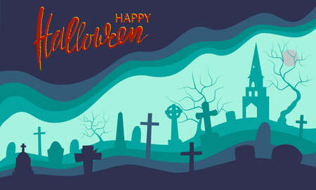 Happy Halloween. Green and purple banner with silhouette old cemetery, trees and moon. Happy halloween handwritten calligraphic card. Flat cartoon style vector illustration and brush lettering