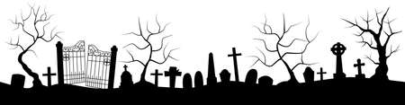 Horizontal banner with black silhouette of cemetery and trees on a white background. Nightmare landscape. Halloween vector illustration for sticker, banner, invitation, poster Ilustração