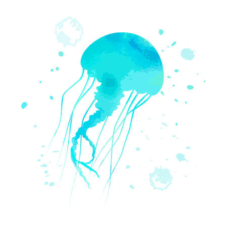 Blue jellyfish animal with  texture and abstract cyan spot on white background. Cartoon octopus for design, background, card, print, sticker