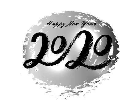 Vector Handwritten lettering 2020 on silver spot background. Black modern brush inscription for design, background, card, print, sticker, banner. Happy New Year Calligraphy greeting card.