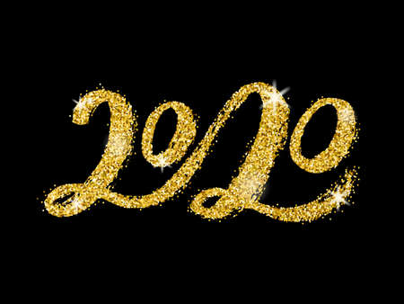 Vector Handwritten lettering 2020 with gold glitter texture.