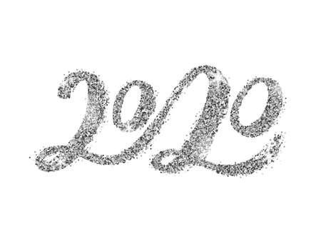 Vector Handwritten lettering 2020 with silver glitter texture.