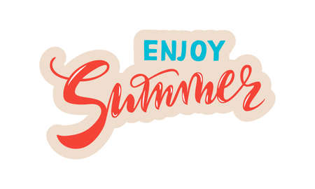 vector handwritten lettering enjoy Summer with texture. Red coral and cyan inscriptions with beige contour isolated on white background for banner, sticker, label, card, clothes.