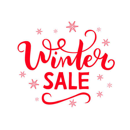 Vector illustration Winter sale with snowflakes on a white background.