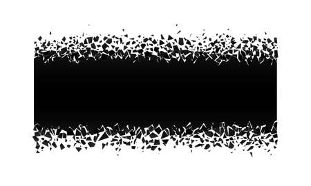 exploding rectangle with debris. Isolated black illustration