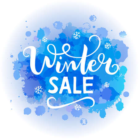 Vector illustration Winter sale on abstract spot watercolor background.
