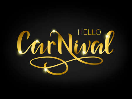 Carnival template with gold texture on a black background