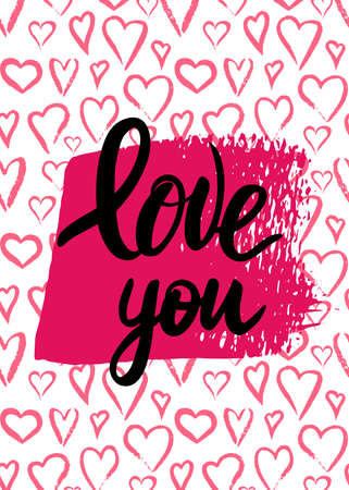 Lettering Love you on pink watercolor heart background.