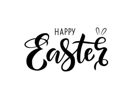Hand drawn black lettering happy Easter with bunny ears on white background. Vector illustration for design of card, banner, flayer, label, icon, badge, sticker