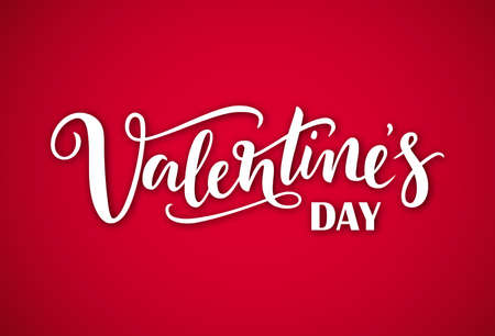 Hand drawn white lettering Valentines Day with shadow on a red background. Vector illustration for design of card, banner,  flayer, label, icon, badge, sticker