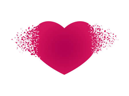 Exploding heart with debris Isolated red