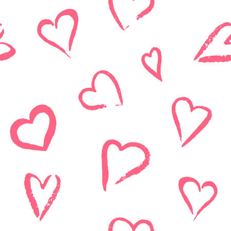 Vector seamless pattern of hand painted watercolor pink hearts