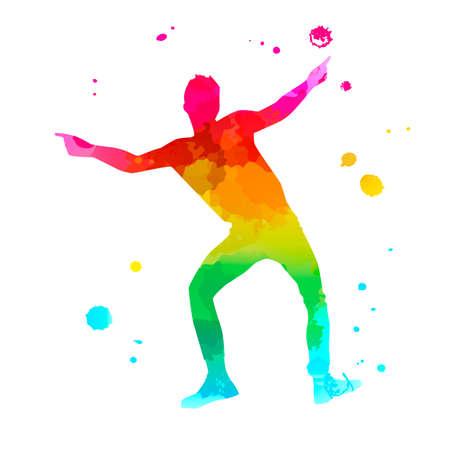 A male street dance hip hop dancer in silhouette Ilustrace