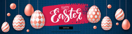 Happy Easter horizontal banner with realistic pink golden eggs on textured background. Template of 3d easter eggs with patten for card, invitation, sale, web, post. Greeting card trendy design